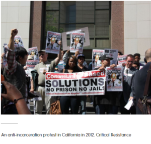 Photo of a protest where people hold placards and a banner that reads, 'Community-Based Solutions No Prison No Jails' with a caption below it that reads 'An anti-incarceration protest in California in 2021. Critical Resistance'