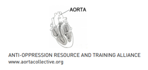 Line diagram of a cross section of a heart with the AORTA labelled in all caps. Text reads: anti-oppression resource and training alliance www.aortacollective.org in all caps